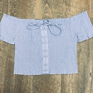 Blue smocked cropped top